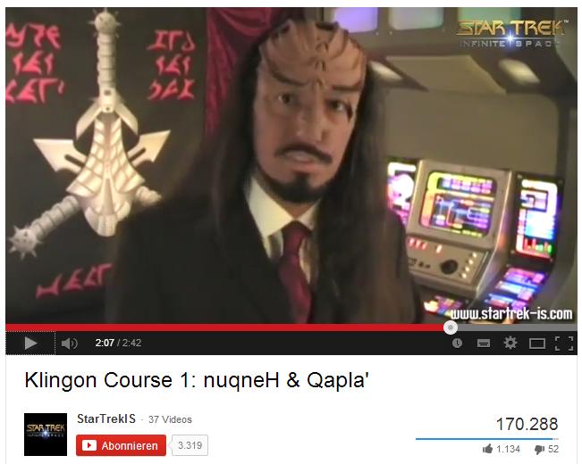 Auch das ist PR: Gameforge holte massig Berichterstattung für das (später eingestellte) Spiel Star Trek: Infinite Space mit einem Klingonisch-Kurs auf Youtube.