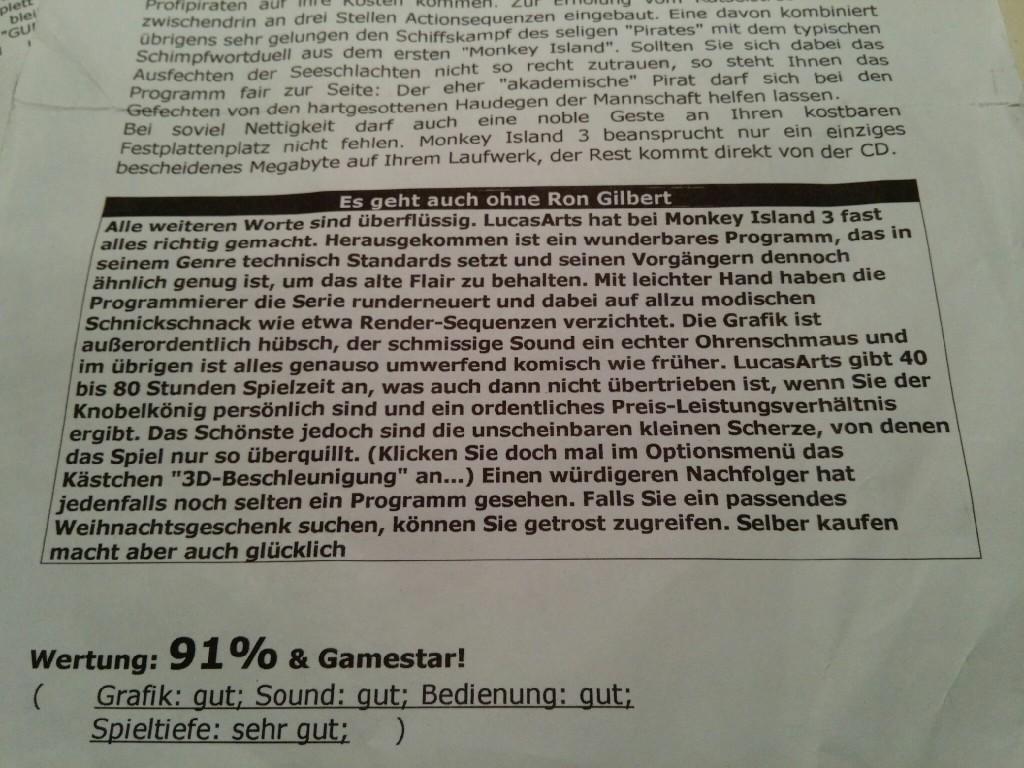 Die zweite Seite des Textes zu Monkey Island 3, leider ohne originelle Formulierungen.